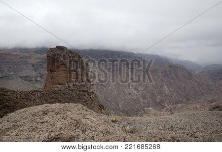 Gran Canaria, December, view from Mirador el Toscon down ravine Barranco de Siberio towards reservoir Presa de Parralillo, overcast day