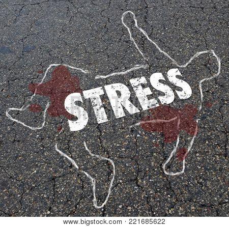 Stress Chalk Outline Body Killer Death 3d Illustration