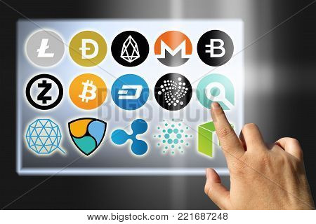 Virtual cryptocurrency - financial technology and internet money - exchange rates and coin signs