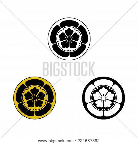 Oda samurai crest, vector graphic of the crest or mon of the Japanese Samurai Clan.