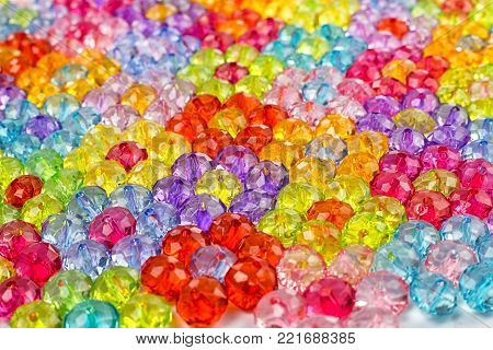 acrylic beads Acrylic beads for design, background of flowers made of colored beads