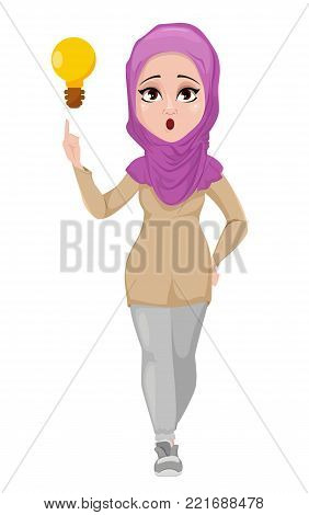 Arabic business woman, smiling cartoon character. Young beautiful Muslim businesswoman in casual clothes having an idea. Stock vector