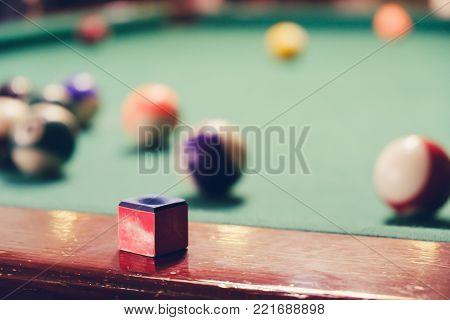 Teen Playing In American Pool Billiard.