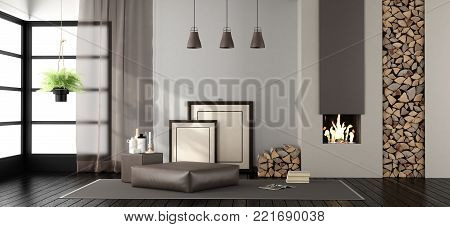Living room with fireplace and footstool on carpet - 3d rendering