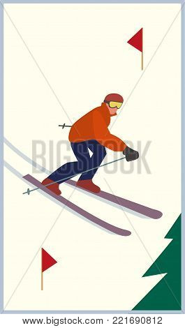 Mountain skiing icon. Skier slope on snowy hill. Pair of skies sign. Simple flat cartoon. Winter outdoors sport. Trace for downhill from top. Advertisement active lifestyle banner, flyer template