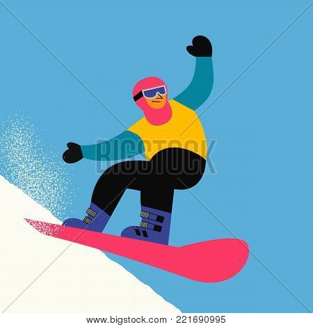 Snowboarding sport icon. Snowboarder slope on snowy hill. Colorful comic flat cartoon. Winter outdoors extreme sport. Downhill from mountain top. Advertisement active lifestyle banner, flyer template