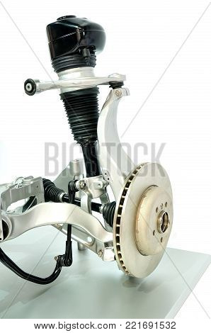 example of a pneumatic car suspension on white background.