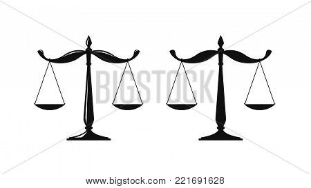 Libra, judicial scales logo. Notary, justice, lawyer icon or symbol. Vector illustration isolated on white background