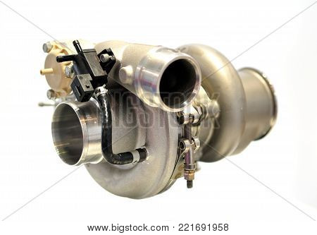 Car turbo charger isolated on white background.