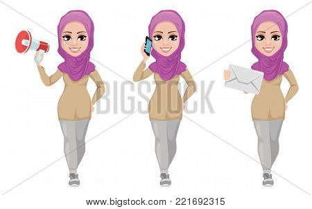 Arabic business woman, smiling cartoon character, set. Young beautiful Muslim businesswoman in casual clothes holding loudspeaker, holding smartphone and holding envelope. Stock vector