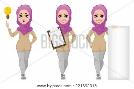 Arabic business woman, smiling cartoon character, set. Young beautiful Muslim businesswoman in casual clothes having idea, holding clipboard and standing near blank banner. Stock vector