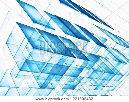 White and blue technology style background - abstract computer-generated image. Fractal geometry - construction of semitransparent cubes. Sci-fi, high tech or business concept backdrop.