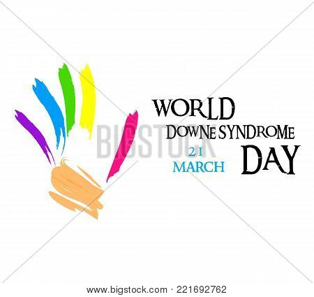 down syndrome and painted hands in yellow and blue colors of down syndrome sign and T-shirt with illustrated 21 chromosome