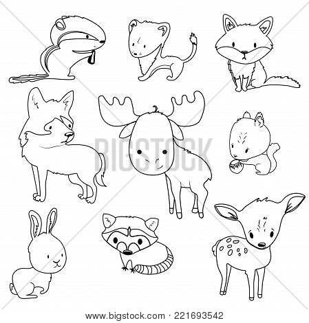 Forest animals outlines vector set with isolated cartooning deer moose raccoon rabbit squirrel fox wolf chipmunk
