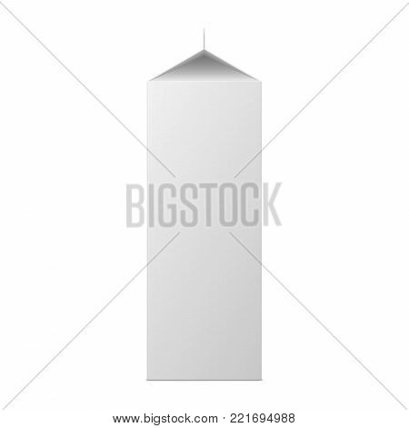 Vector mock up of milk or juice box on white background. Realistic carton one liter package isolated. Template for your design. Front side view. 3d illustration.
