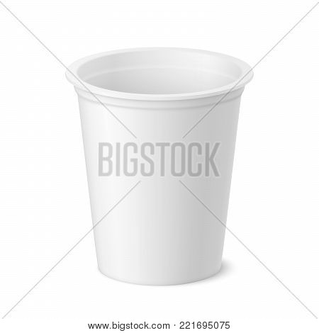 Vector realistic yogurt, ice cream or sour creme package on white backgrounnd. 3D illustration. Mock up of container isolated. Template for your design. Side view. Diminishing perspective.