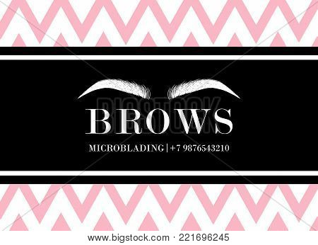 Beautiful Hand Drawing Eyebrows For The Logo Of The Master On The Eyebrows And Microblading Master.