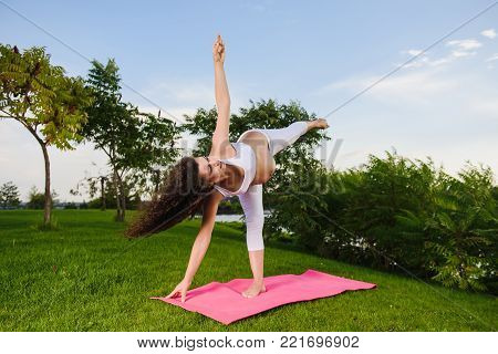 Pregnant woman doing prenatal yoga on nature. Ardha candrasana, pose of the half moon. Woman in park on grass. wide angle.