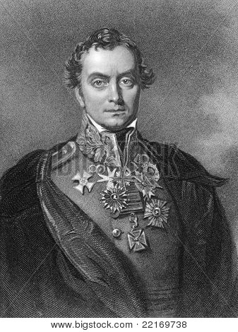 Henry Hardinge (1785-1856). Engraved by F.Holl and published in The National Portrait Gallery encyclopedia, United Kingdom, 1835.