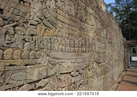 Naval warfare depicted on the southern gallery at Bayon Temple. Cambodia