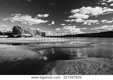 Beautiful summer landscape. Black and white art monochrome photography. Black and white creative photography. Black and white conceptual image. Beautiful black and white background.