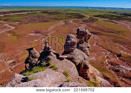 A morning view from the Blue Mesa in the Petrified Forest National Park of Arizona. The rock formations in the foreground are called Hoodoos. This national park is located near Holbrook Arizona.