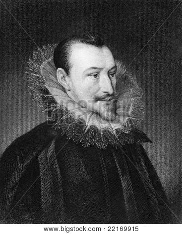 Edmund Spenser (1552-1599). Engraved by J.Thomson and published in The Gallery of Portraits encyclopedia, United Kingdom, 1835.