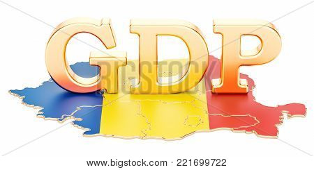 gross domestic product GDP of Romania concept, 3D rendering isolated on white background