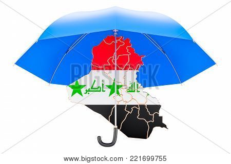 Iraqi map under umbrella. Security and protect concept, 3D rendering