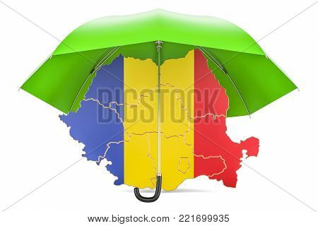 Romanian map under umbrella. Security and protect concept, 3D rendering
