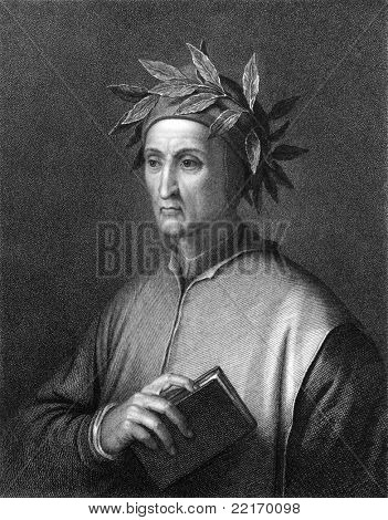 Dante Alighieri (1265 -1321). Engraved by C.E.Wagstaff and published in The Gallery Of Portraits With Memoirs encyclopedia, United Kingdom, 1837.