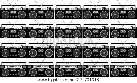 Pattern of black and white and gray, hipster, beautiful, vintage retro audio tape recorders from the 80's on a white background. Seamless texture. Vector illustration.