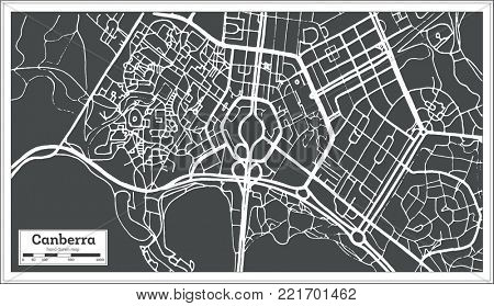 Canberra Australia City Map in Retro Style. Outline Map.