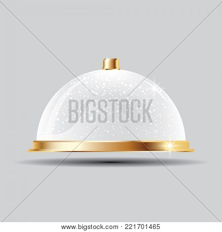 Glass Dome with Snow on Transparent Background.
