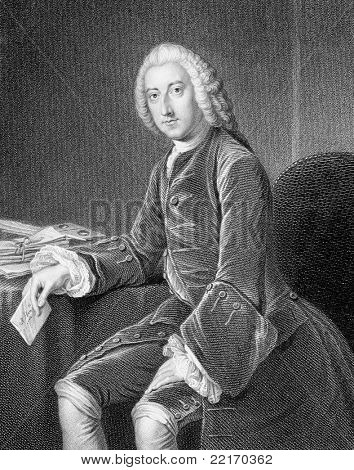 William Pitt, 1st Earl of Chatham (1708-1778). Engraved by W.Holl and published in Portraits And Memoirs Of The Most Illustrious Personages encyclopedia, United Kingdom, 1836.