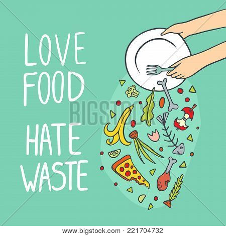 Stop wasting food color vector illustration. Love food and hate waste.