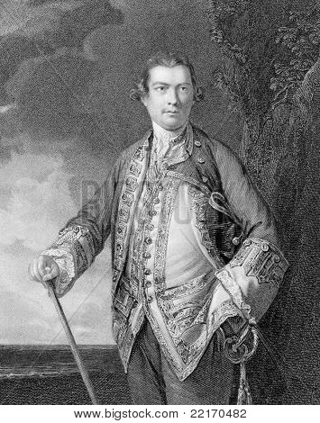 Augustus Keppel, 1st Viscount Keppel (1725-1786). Engraved by H.T.Ryall and published in portraits and memoirs of the most illustrious personages of British history encyclopedia, United Kingdom, 1836.