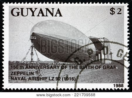 GUYANA - CIRCA 1989: a stamp printed in Guyana shows Naval Airship LZ 92, 150th Anniversary of the Birth of Graf Zeppelin, circa 1989