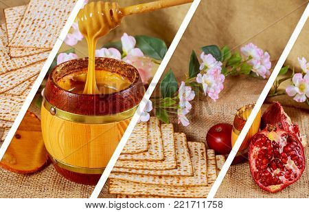 Pesach matzo passover with wine and matzoh jewish passover bread Pomegranate photo collage