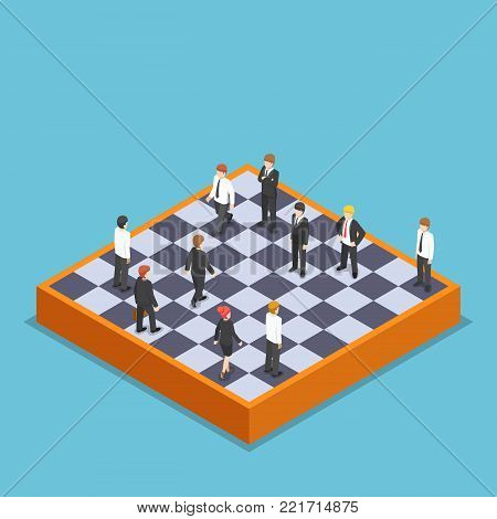 Flat 3d isometric businessman playing business chess. Business and marketing strategy concept.