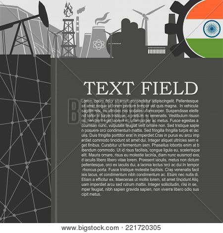 Energy and Power icons set. Sustainable energy generation and heavy industry. Field for text. Modern brochure, report or leaflet design template. Flag of India in gear