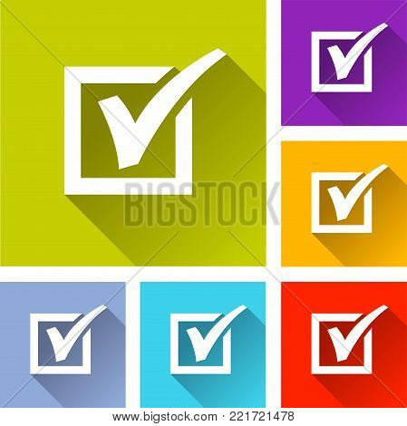 Illustration of six checkmark icons concept design