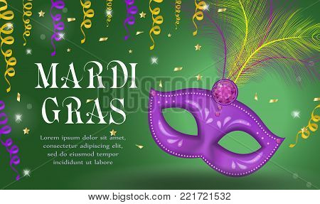 Mardi Gras carnival poster, invitation, greeting card. Happy Mardi Gras Template for your design with mask feathers. Holiday in New Orleans. Fat Tuesday background. Vector illustration