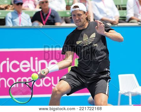 Melbourne, Australia - January 11, 2018: Tennis player Lucas Pouille preparing for the Australian Open at the Kooyong Classic Exhibition tournament