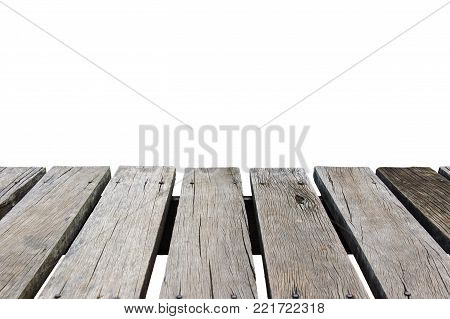 Aged wood prank board isolated on the white background.
