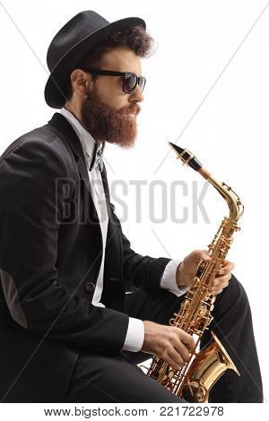 Jazz musician with a saxophone isolated on white background