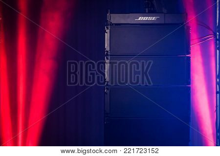 BANGKOK,THAILAND-SEPTEMBER 13: Photograph of the new Bose professional loud speaker named ShowMatch DeltaQ array loud speaker in the concert . shoot on Sep 13, 2017 in Bangkok,Thailand.