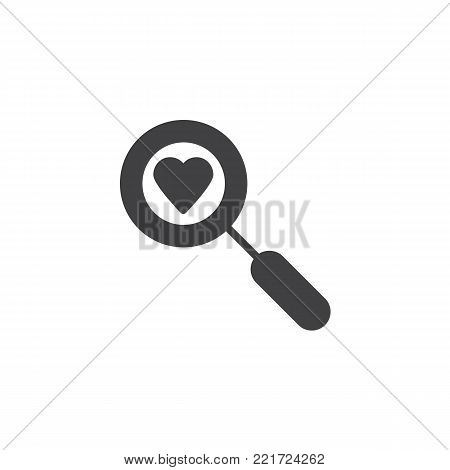 Heart search with magnifying glass icon vector, filled flat sign, solid pictogram isolated on white. Love valentines day symbol, logo illustration.