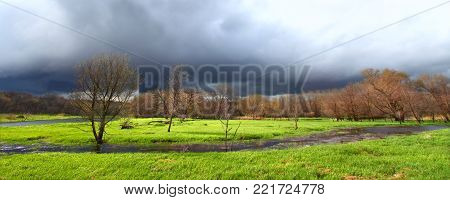 Dark clouds precede a spring thunderstorm over an Illinois wetland