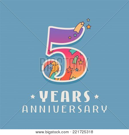 5 years anniversary celebration vector icon, logo. Template design element with bright colored number for 5th anniversary greeting card